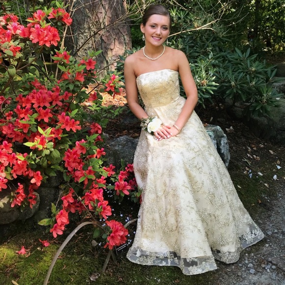 B Darlin Dresses | Strapless Embroidered Ball Gown | Poshmark